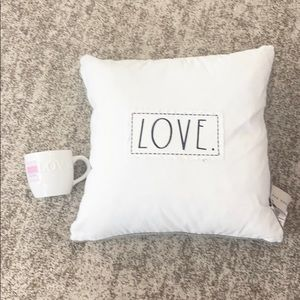 NWT Rae Dunn LOVE Pillow & LOVE mug Bundle